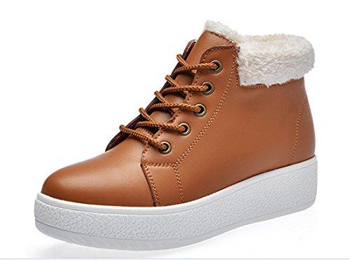 Fashion Women Winter Flatform Shoes Snow Boots Students Warm Cotton Plush Sport Shoes Brown