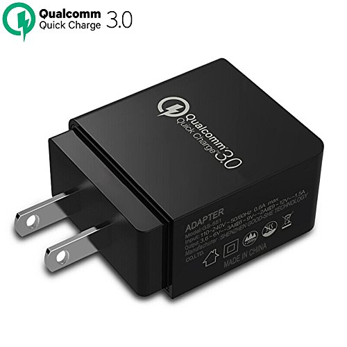 Wall Charger TAKAGI Quick Charge 3.0 (Quick Charge 2.0 Compatible) USB Fast Charging Station Travel Power Adapter for Samsung S7/S6/Note 8, iPhone X/8/7/Plus, Huawei Mate 10, iPad and More (Black)