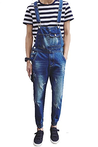 Denim Men's Pocket Slim Ripped Ankle Banded Overalls Size 29