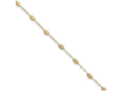 14K Puff Rice Bead With 1in Ext Anklet