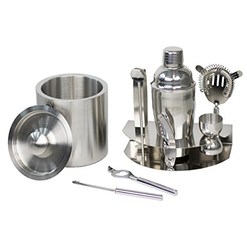 ARTIGEE 9 Piece Cocktail Set | Stainless Steel Full Bartender Kit with 18.6 Ounce Shaker, Ice Bucket & Accessories