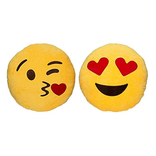 Babyhaven Emoticon Novelty Emoji Stuffed Pillow, Twin Pack, Heart Eyes/Blushing