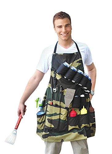 BigMouth Inc The Grill Sergeant BBQ Apron, Cotton Camouflage Gag Gift for Cookouts, Adjustable Strap, Pockets and Bottle Opener Included -