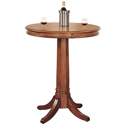 BOWERY HILL Round Pub Table in Medium Brown Oak