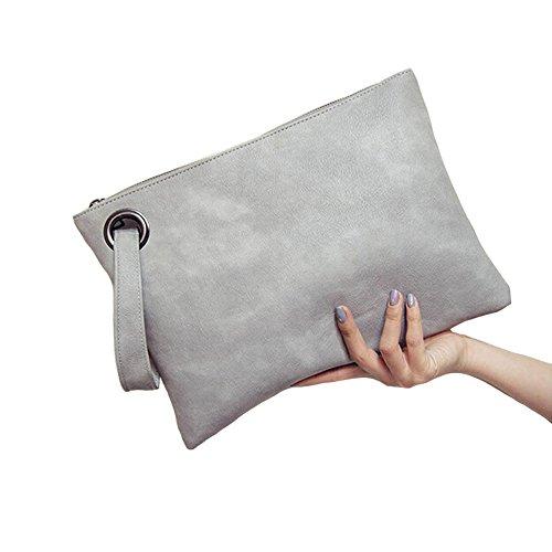 les femmes du cuir sac à main embrayage sac de soirée rétro sac enveloppe paquet fourre tout gros wristlet sac à main Gray