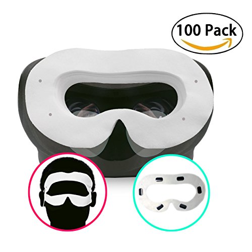 T&B Disposable Oculus Rift CV1 VR Mask 2 Ways To Use Hygiene White Replaceable Blinder Replacement Accessories for Oculus Rift Virtual Reality Headset 100 Pc by T&B