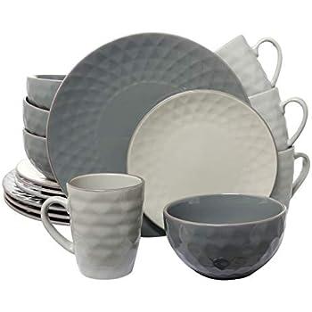 Elama Tahitian Round Stoneware Pearl Collection Dinnerware Dish Set, 16 Piece, Slate and Stone Gray