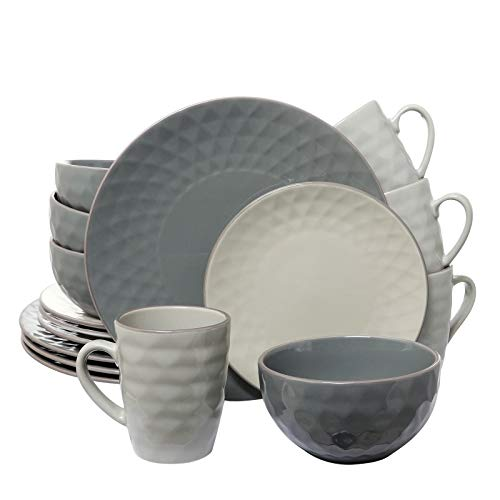 Elama Tahitian Round Stoneware Pearl Collection Dinnerware Dish Set, 16 Piece, Slate and Stone Gray