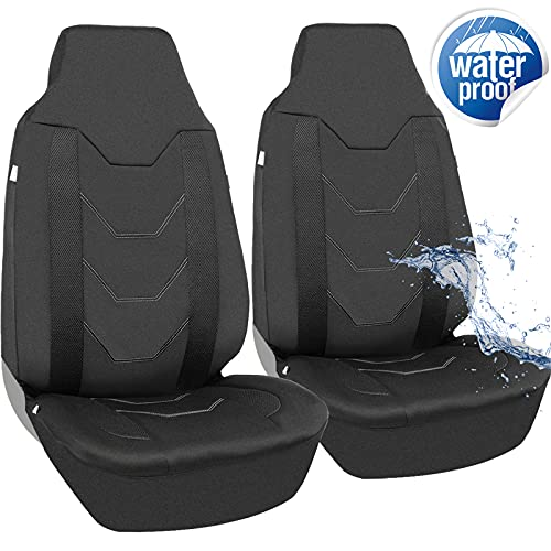 Magiona Waterproof Front Seat Covers Neoprene High Back Bucket Seat Covers for Car SUV Van Truck Universal Fit Airbag Compatible Black 2 pcs