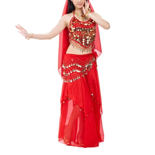 [BellyLady Halloween Belly Dance Costume, Halter Bra Top, Hip Scarf and Skirt-Red] (Belly Dancing Dress)