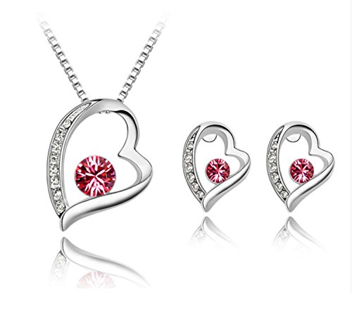 RuSong Swarovski Bohemia Crystal Jewelry Set Necklace Earring Fashion for Girls Women