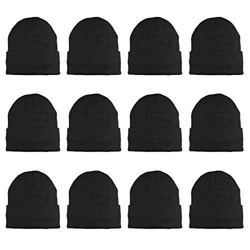 Gelante 3M Thinsulate Women Men Knitted Thermal Winter Cap Casual Beanies-Wholesale Lot 12 Packs-Black