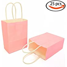 AZOWA Gift Bags Mini Kraft Paper Bags With Handles(Light Pink, 25 Pcs)
