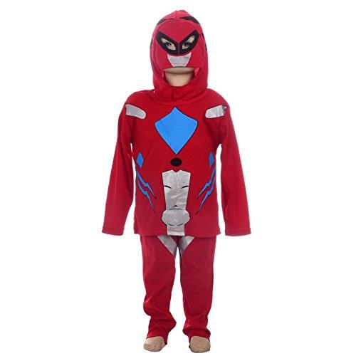 Dressy Daisy Red Power Ranger Costume Superhero Costume Halloween Fancy Dress w Mask