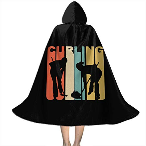 Kids Hooded Cape Cloak Retro 1970's Style Curlers Silhouette Curling Cloak for Children for Halloween ()
