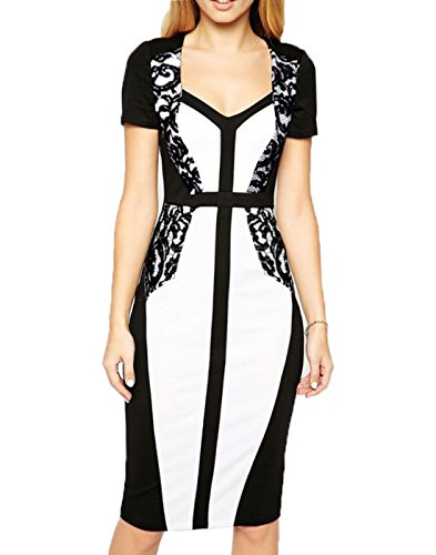 WOOSEA-Womens-Elegant-Lace-Colorblock-Slim-Cocktail-Party-Pencil-Dress