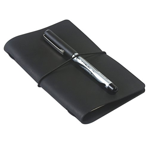 Pocket Travel Journal - Small Travelers Notebook & Cover for 3.5 x 5.5 Notebooks, Genuine Leather, Black
