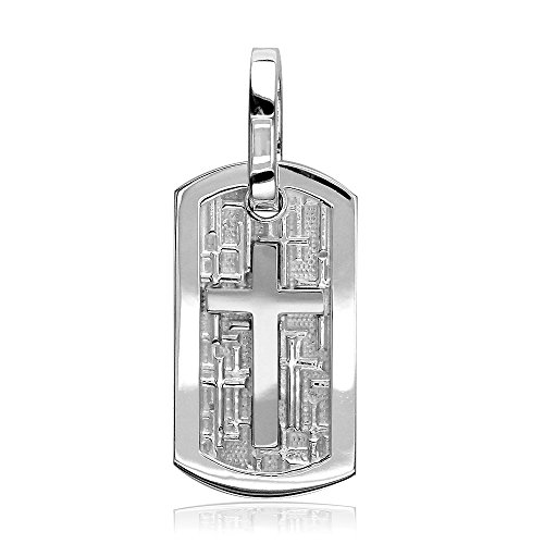 Sziro Christian Jewelry Smaller Size Cross Dog Tag Pendant with Crosses Background in Sterling Silver Cross Tag Sterling Silver Pendant