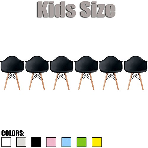 2xhome - Set of Six (6) - Black - Kids Size Eames Armchairs Eames Chairs Black Seat Natural Wood Wooden Legs Eiffel Childrens Room Chairs Molded Plastic Seat Dowel Leg… by 2xhome