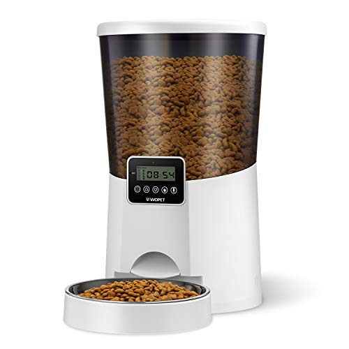 WOPET Automatic Cat Feeder, 7L Auto Dog Food Dispenser Timed Cat Feeder Portion Control and Programmable Timer 1-4 Meals…