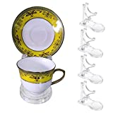 Hipiwe Acrylic Tea Cup Saucer Display Stands Clear Dinnerware Display Easel Stand Teacup Sets Plate Holder,Pack of 8 (5pcs,High Legs)