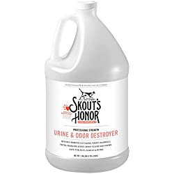 Skout's Honor Professional Strength, All-Natural Cat Urine and Odor Destroyer - Non-Toxic, Biodegradable, and Eco-Friendly - Dissolves Stains & Immediately Eliminates Odors - 128-Ounce Bottle