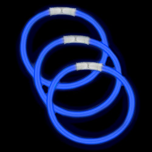 Fun Central 50 Pack - 8 Inch Glow Stick Bracelets - Glow in The Dark Bracelet Bulk Party Favors - Blue