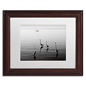 Trademark Fine Art 4 Herons and Boat by Moises Levy in White Matte and Wood Framed Artwork, 11 by 14-Inch