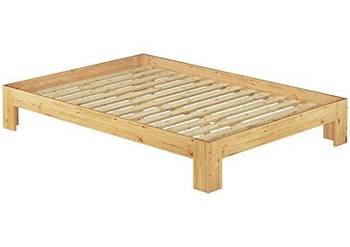 60.67-14 Französisches Bett 140 x 200 cm Kiefer massiv mit Rollrost