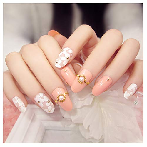 (Fstrend False Nails Bling Rhinestone Pearl Flower Nail Tips Fake Nails Wedding Birthday Party Acrylic Nails for Women and Girls)