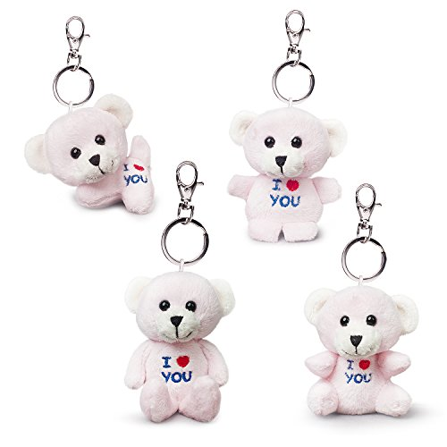 Bear of Allan Stuffed Animal Mini Teddy Bear Keychain Set, Pack Four, 2.57Inch (Pink) ()