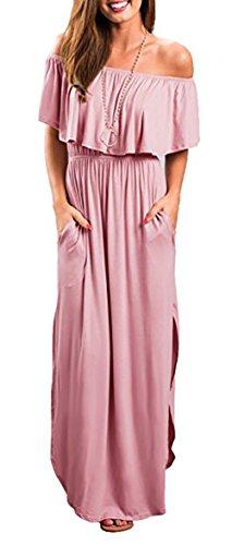 Womens Floral Off The Shoulder Dress Summer Casual Ruffle High Waist Slit Maxi Long Dresses (Small, T-Pink)