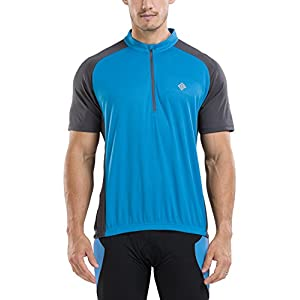 KORAMAN Men's Reflective Short Sleeve Cycling Jersey Quick-dry Breathable Biking Shirt Blue L