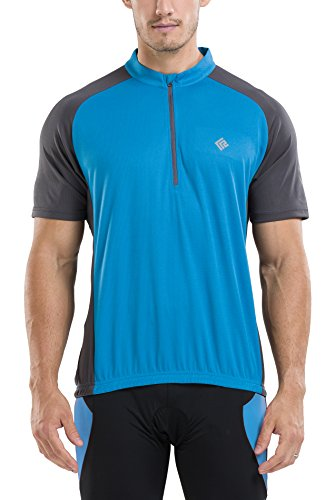 KORAMAN Men's Reflective Short Sleeve Cycling Jersey Quick-dry Breathable Biking Shirt Blue XL (Jersey T-shirt Cycling)