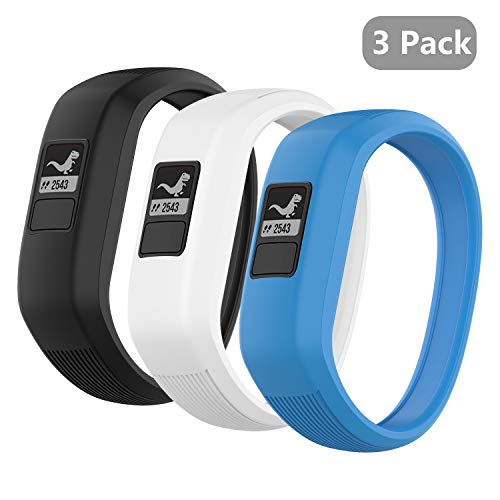 (3 Pack) Seltureone Band Compatible for Garmin Vivofit jr,jr 2,3 Bands, All-in-one Silicon Stretchy Replacement Wristbands for Kids Boys Girls (No Tracker)- Black,White,Azure (Large)