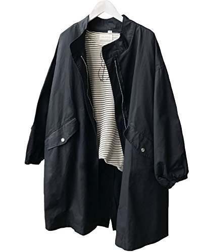 Parka Noir Léger Outwear Longue Casual vent Trench Femmes Aeneontrue Veste Avec Militaire Drawstring Longues Manteau Cardigan Manches Coup Coat UFBZZ8wtq