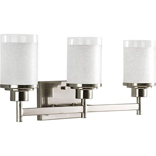 Light Bell 3 (Progress Lighting 3-Light Alexa Brushed Nickel Bathroom Vanity Light)