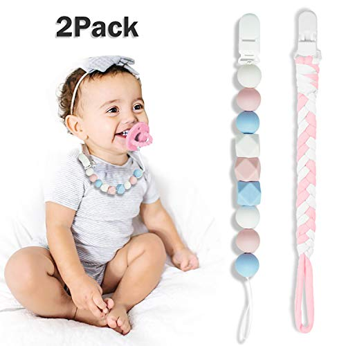 Pacifier Clip for Baby Girls, Baby Holder Leash, Braided Pacifier Holder & Silicone Pacifier Holder, Teether Toy Leash, Baby Shower Gift Set, Easy to Use for Teething Toys (Pink)