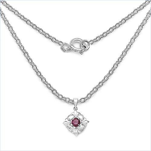 Bijoux Schmidt-Collier / pendentif chaîne Argent 925 rhodié Ruby-1, 18 carats