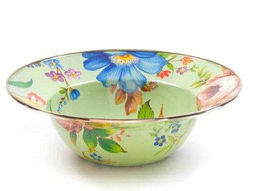 MacKenzie-Childs Flower Market Enamel Serving Bowl - Green 12'' dia. (40 oz.)
