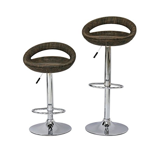 Upholstered Wicker Bar Stool - Peachtree Press Inc Peach Tree Set Of 2 Pub Swivel Bar Stools Adjustable Hydraulic Lift Dining Chair, Rattan Wicker
