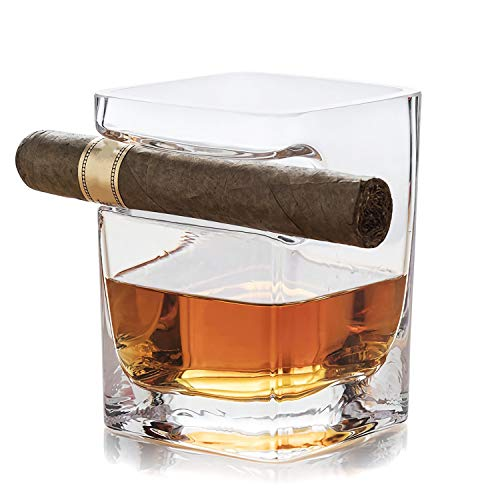Kingrol 9 oz. Whisky Cigar Glass, Lead Free Crystal Old Fashioned Glass with Indented Cigar - Cigar Collection Label