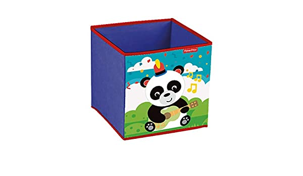 Fisher-Price FP10181 Contenedor Organizador Textil con Forma de Cubo Plegable de 31x31x31cm Panda