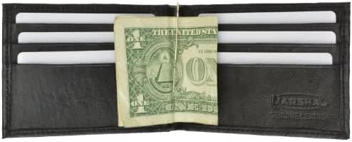 Men's Lambskin Leather Spring Money Clip Compact Bifold Wallet