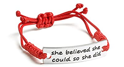 "Inspirational Jewelry Bracelet – ""She Believed She Could So She Did"" Quote – Silver Charm Wrap – Engraved Sayings for Inspiration, Motivation – Perfect Gift for Women, Men, Teens, Girls"