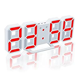 EAAGD Electronic LED Digital Alarm Clock [Upgrade Version] , Clock Can Adjust the LED Brightness Automatically in Night (White/Red)