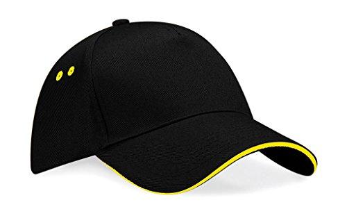Beechfield Unisex Ultimate 5 panel contrast cap with sandwich peak Negro / Amarillo