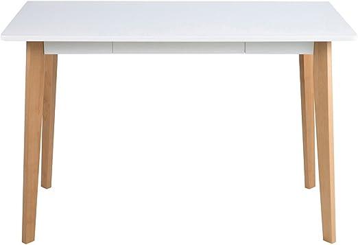 Escritorio con tablero lacado en blanco, patas de madera de abedul ...