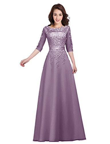 für Elegant LuckyShe Ärmeln Twilight Lang Damen Spitze Abendkleider Hochzeit Lavender Chiffon mit Brautjungfernkleider qC0gCnSw