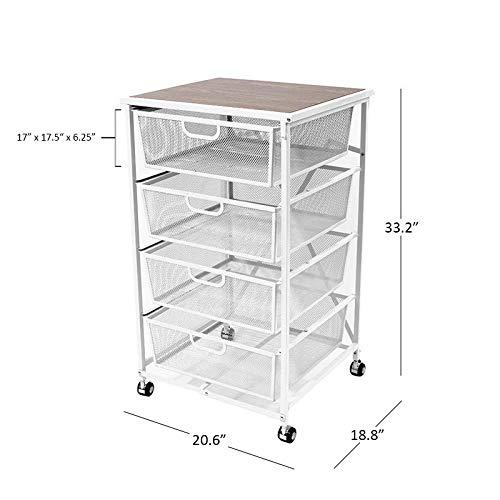 Origami Foldable 4 Tier Drawer Wood Shelf, ()